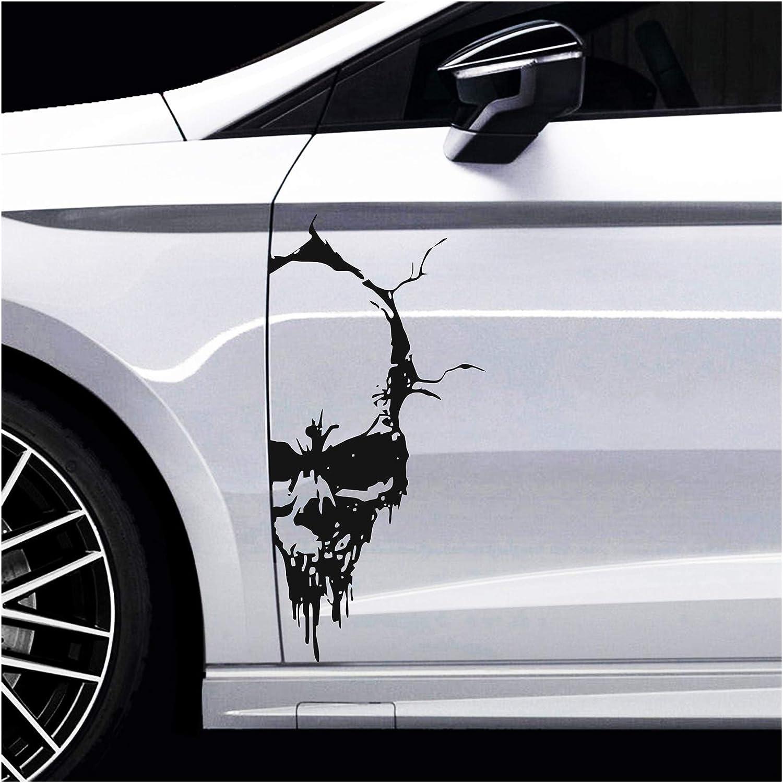 Finest Folia Skull Totenkopf Aufkleber Sticker Dekor Folie Autoaufkleber Tattoo Für Auto Lkw Wohnwagen Schwarz Glanz 50x24 Cm Kx041 Auto