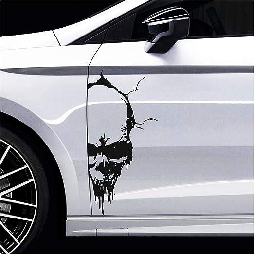 Finest Folia Skull Totenkopf Aufkleber Sticker Dekor Folie Autoaufkleber Tattoo Für Auto Lkw Wohnwagen K079 Schwarz Glanz 28x13 Cm Auto