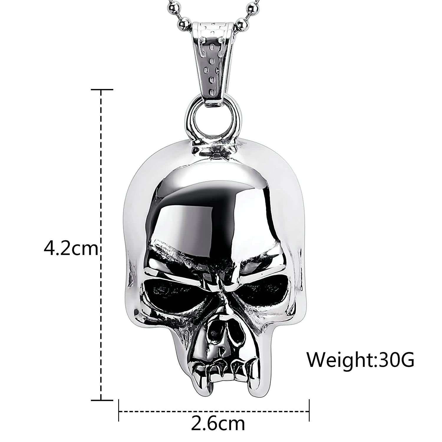 AMDXD Jewelry Stainless Steel Pendant Necklaces for Men Skull Head Necklace Silver Black Pendant