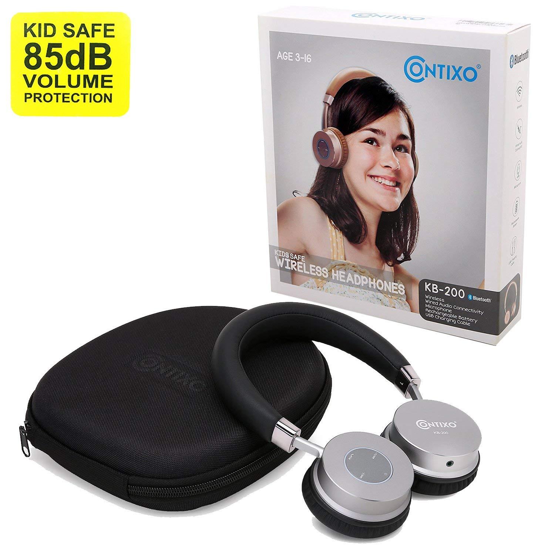 Contixo KB200 Premium Kids Headphones W Volume Limit Controls 85db Max Wireless Bluetooth Headphones Over-The-Ear W Microphone Black – Best Gift
