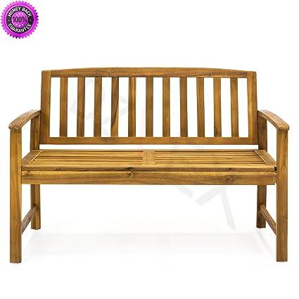 DzVeX Outdoor Acacia Wood Bench And Patio Swing Patio Swing With Canopy  Outdoor Swing Bed Wooden