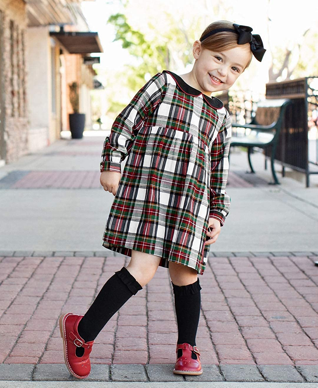 1940s Children's Clothing: Girls, Boys, Baby, Toddler RuffleButts Little Girls Holiday Traditional Plaid Peter Pan Collar Dress Long Sleeve $38.99 AT vintagedancer.com