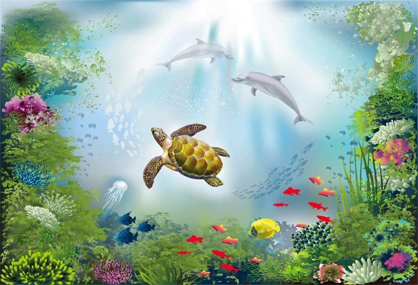 10x6.5ft Wonderful Underwater Sea View Backdrop Polyester Sea Turtle Couple Dolphins Colorful Tropical Fish Coral Reef Jellyfish Bright Sunlight Undersea World Background Children Birthday Decor