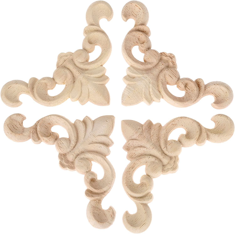 4pcs 8x8x0.8cm Oak Wood Carved Furniture Corner Onlay Applique Unpainted Home Decor