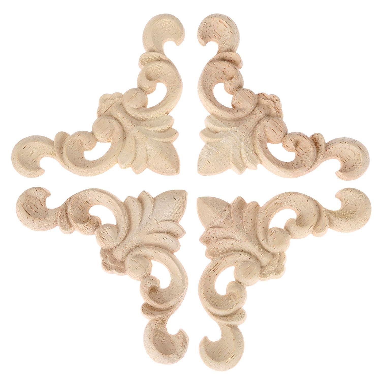 Amazon com 4pcs 8x8x0 8cm oak wood carved furniture corner onlay applique unpainted home decor home kitchen