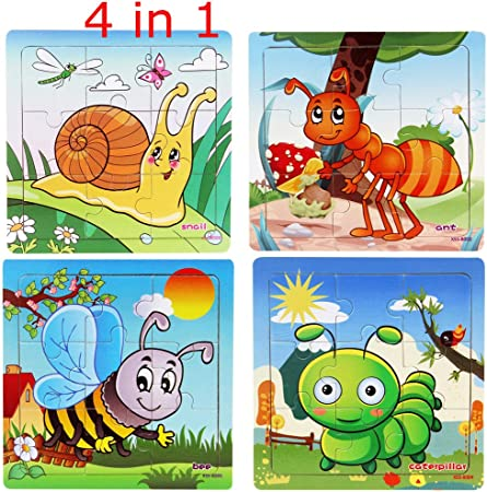Kids Education And Learning Toys 16Pcs Wooden Jigsaw Puzzles Toys with Animals