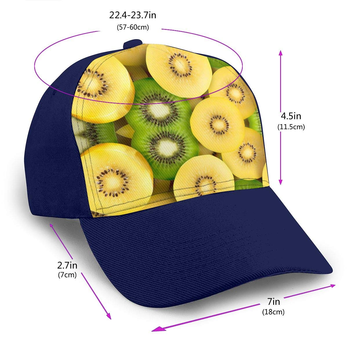 Classic Comfortable Difference Between Green and SunGold Kiwifruit Adjustable Baseball Cap