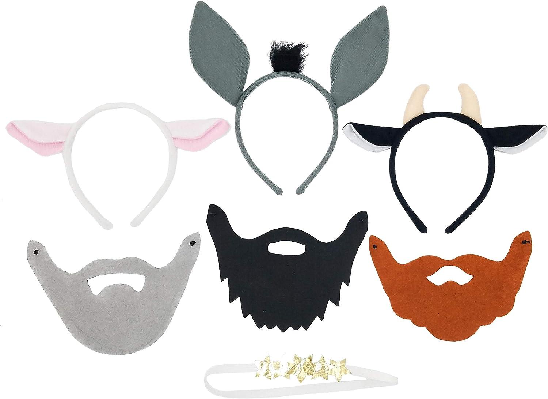 Juego de diadema y máscara de Nativity Dress Up para niños, incluye 3 barbas de hombres sabios, 3 animales y halo de ángel: Amazon.es: Juguetes y juegos
