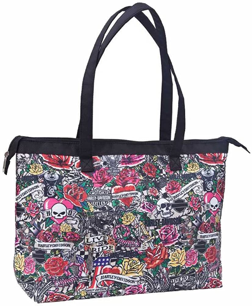 Harley-Davidson Shopper Tote, H-D Tattoo Print Shoulder Bag, Pink 99914-TAT