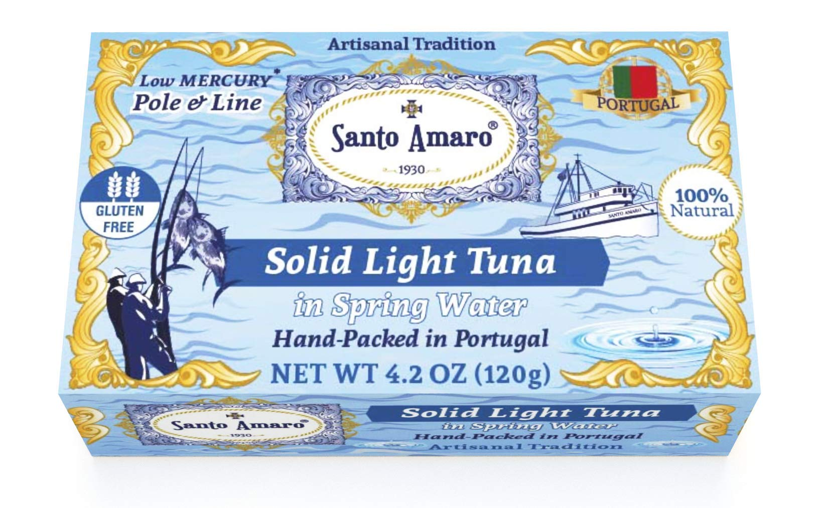 SANTO AMARO Artisanal Wild Tuna in Spring Water (12 Pack, 120g Each) PRISTINE STYLE! 100% Natural - GMO FREE - Pole & Line Caught Skipjack - Keto - Paleo - Solid Hand Packed in PORTUGAL by Santo Amaro