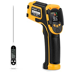 Infrared Thermometer Non-Contact Digital Laser Temperature Gun with Color Display -58℉~1112℉(-50℃~600℃) Adjustable Emissivity - Temperature Probe for Cooking/BBQ/Freezer - Meat Thermometer Included