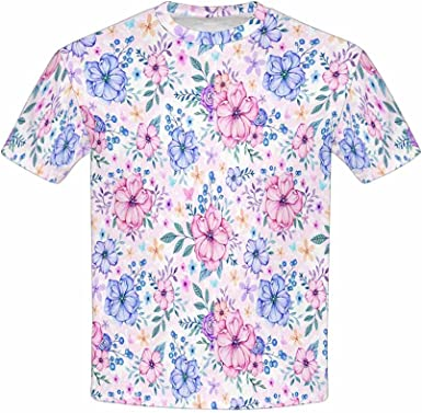 Violet Flowers with Leaves and Berries Purple XS-XL INTERESTPRINT Kids T-Shirt Pink