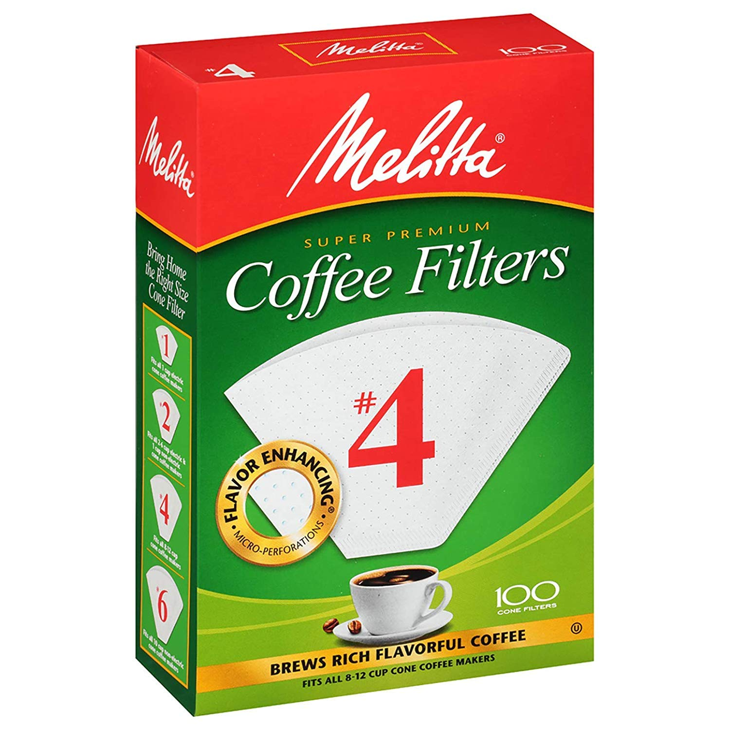 Melitta #4 Super Premium Cone Coffee Filters, White, 100 Count (Pack of 6) by Melitta