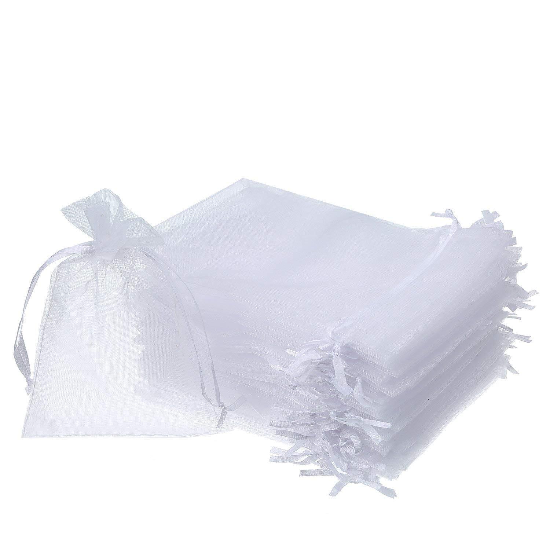 100Stk (Weiß) Organza Säckli Beutel Geschenk Schmuck Hochzeit Süßigkeiten Gastgeschenke-7x9cm Touch Global