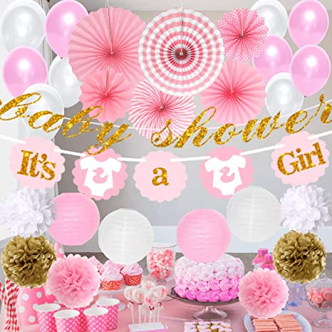 Confetti Table Baby Girl Foil Pink Feet and Stars Baby Shower Party