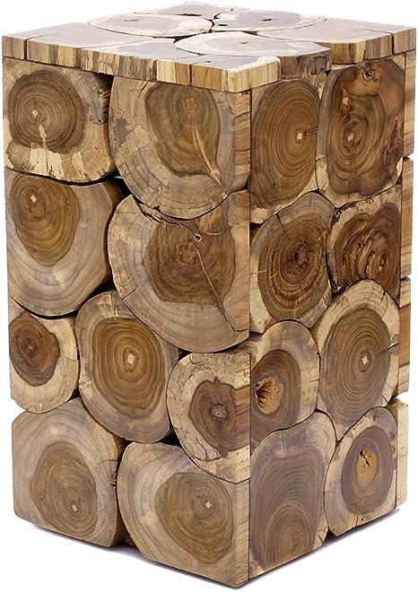 Brillibrum Tavolino Di Design In Legno Di Teak Design Unico In Teak Robusto Sgabello In Legno Di Tronco D Albero Medio 50 X 29 X 29 Cm Colore Naturale Amazon It Casa E Cucina