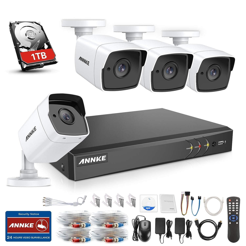 ANNKE Kit de Seguridad 8CH DVR Ultra HD 4K H.265 y 4/×5MP HD C/ámaras de vigilancia IP67 Impermeable Alerta por Correo electr/ónico con instant/áneas Acceso remoto-1TB Disco Duro