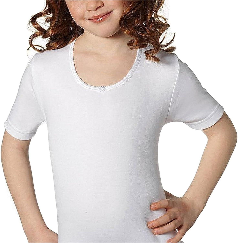 Linea BIMBISSIMI Colore Bianco Capo Realizzato in mordibo Cotone Caldo IGAM Confezione da 2 Canottiera Bambina Girocollo Mezza Manica in Cotone Interlock