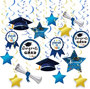 2021 Graduation Hanging Navy Blue and Gold Decorations Foil Swirls Kit,College High School Graduation Decoration Party Supplies,Congrats Grad,Proud of You by Forcemaxe