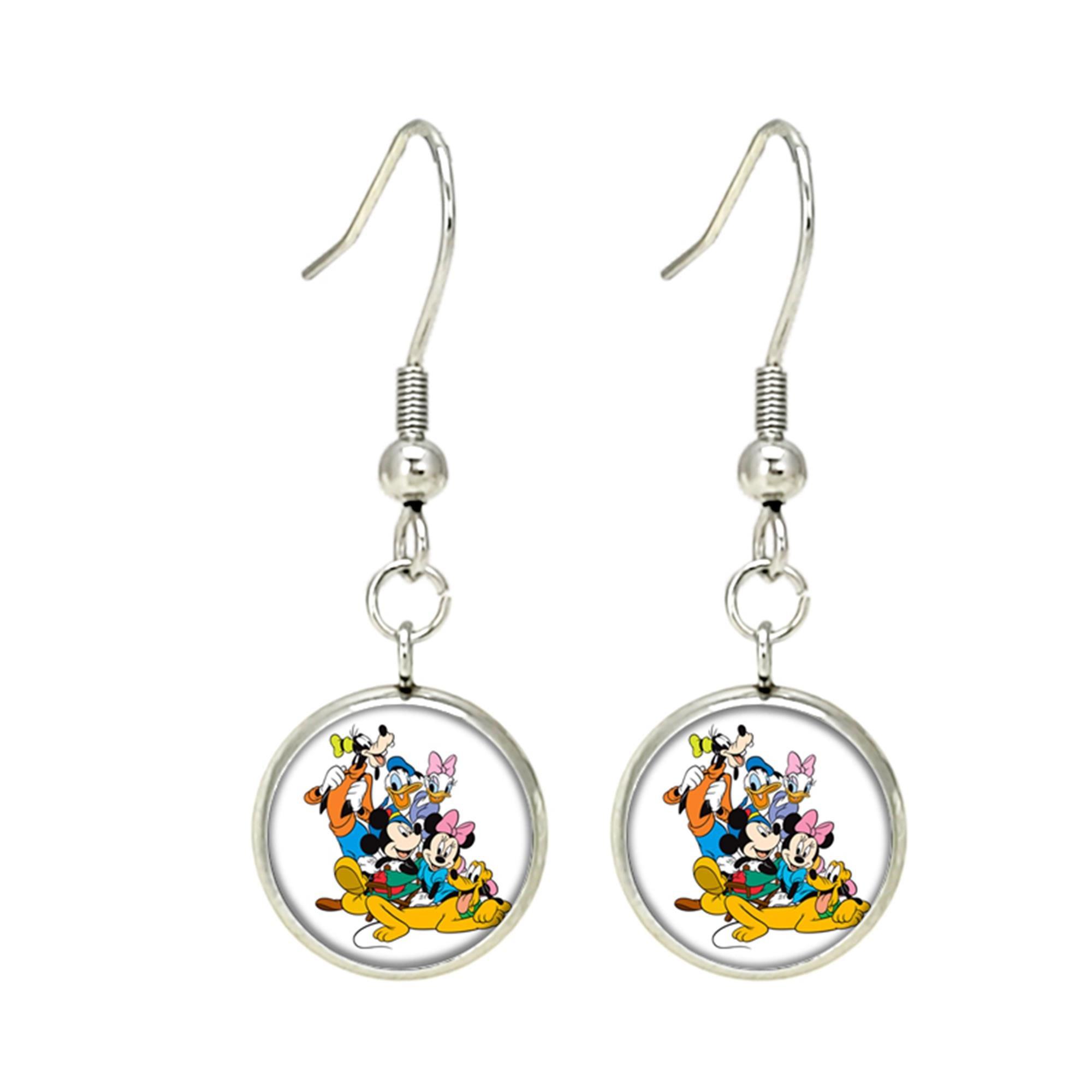 Mickey Mouse Disney Dangle Earrings TV Movies Classic Cartoons Superhero Logo Theme Minnie Donald Daisy Goofy Pluto Premium Quality Detailed Cosplay Jewelry Gift Series