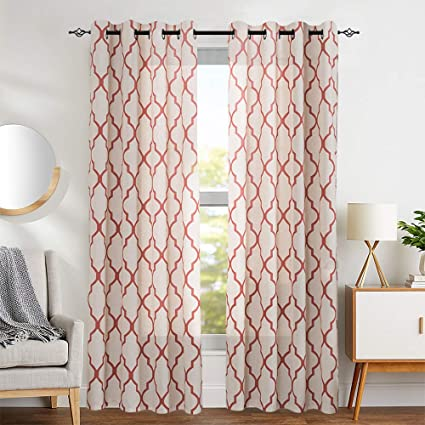 jinchan Moroccan Print Terra Red Curtains for Living Room- Quatrefoil Flax  Linen Blend Textured Geometry Lattice Grommet Window Treatment Set for ...