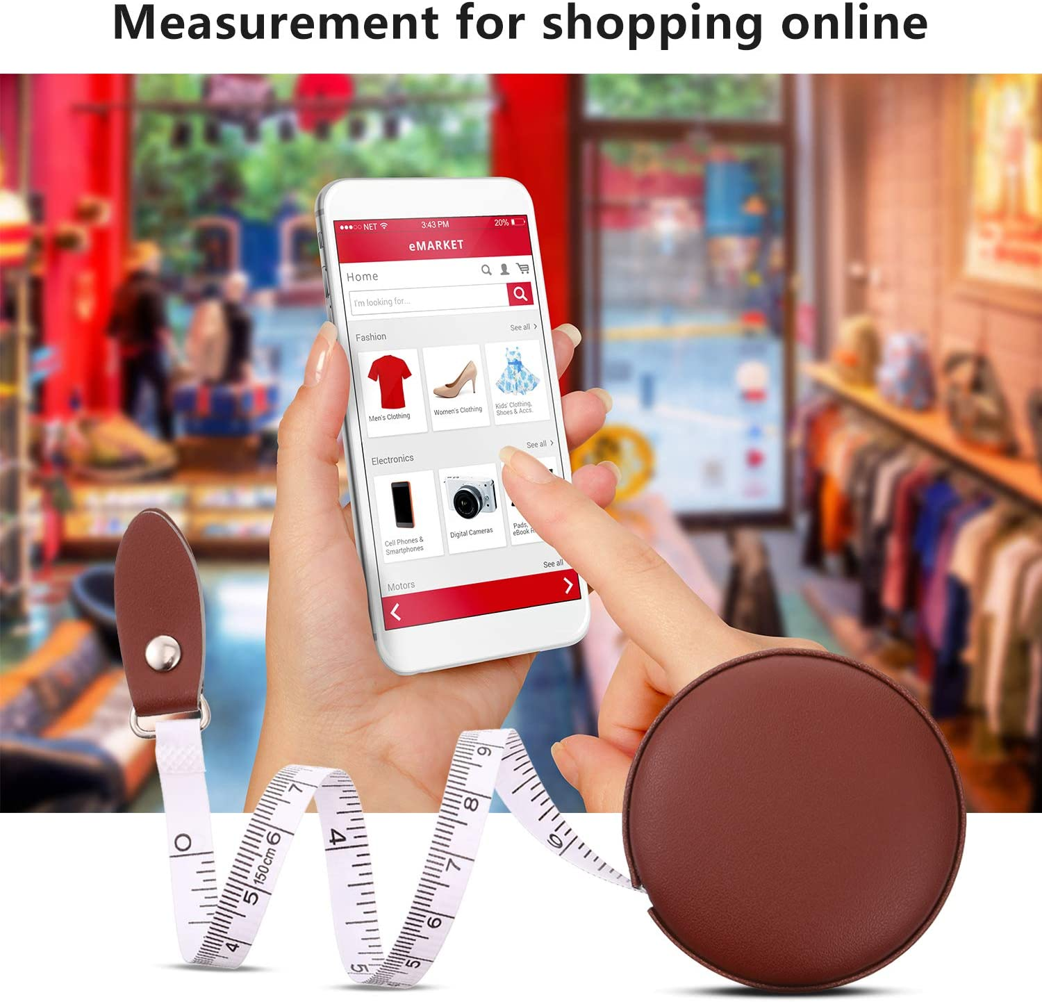 3 Pieces Body Measuring Tape Tape Measure Leather Retractable Tape Measure for Body or Weight Loss Accurate Sewing Tape Measure 60 Inch//1.5 M Brown Round