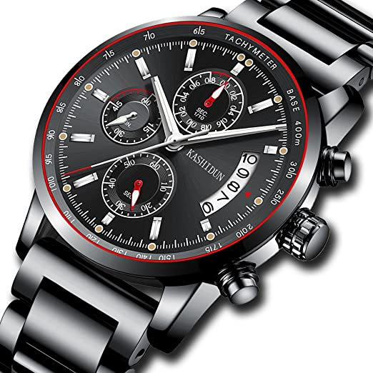 Hombres De Acero Inoxidable Relojes Hombres Cronógrafo Deporte Impermeable Fecha Reloj De Cuarzo Con Cara Grande Negro Moda Clásica Reloj Casual Regalos ...