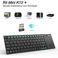 Rii K12+ Mini - Teclado mini con touchpad (WiFi 2.4 GHz, USB, acero inoxidable), color negro - QWERTY español