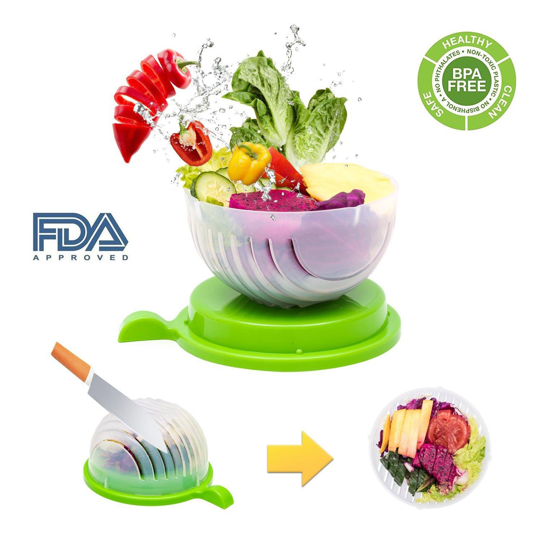 Salad Cutter Bowl, Fast Fresh Salad Slicer 60 Seconds Salad maker Vegetable Fruit Bowl Cutter & Strainer Dual Use - Gift Package Bonus included(Green) by exeblue (Image #1)