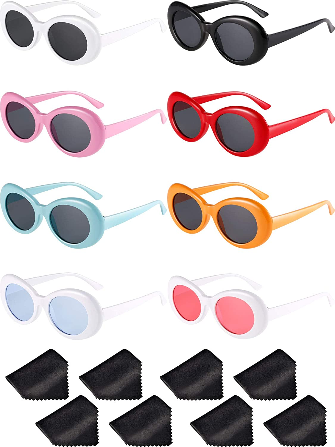8 Pairs of Clout Oval Goggles Retro Kurt Mod Thick Frame Round Lens Sunglasses Goggles 8 Colors for Women Men (color 1) Gejoy