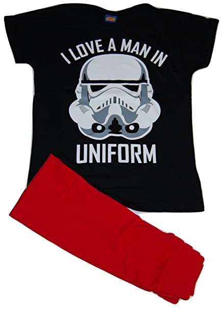 Ladies Star Wars Stormtrooper I Love A Man en uniforme de pijama Pjs Set 6