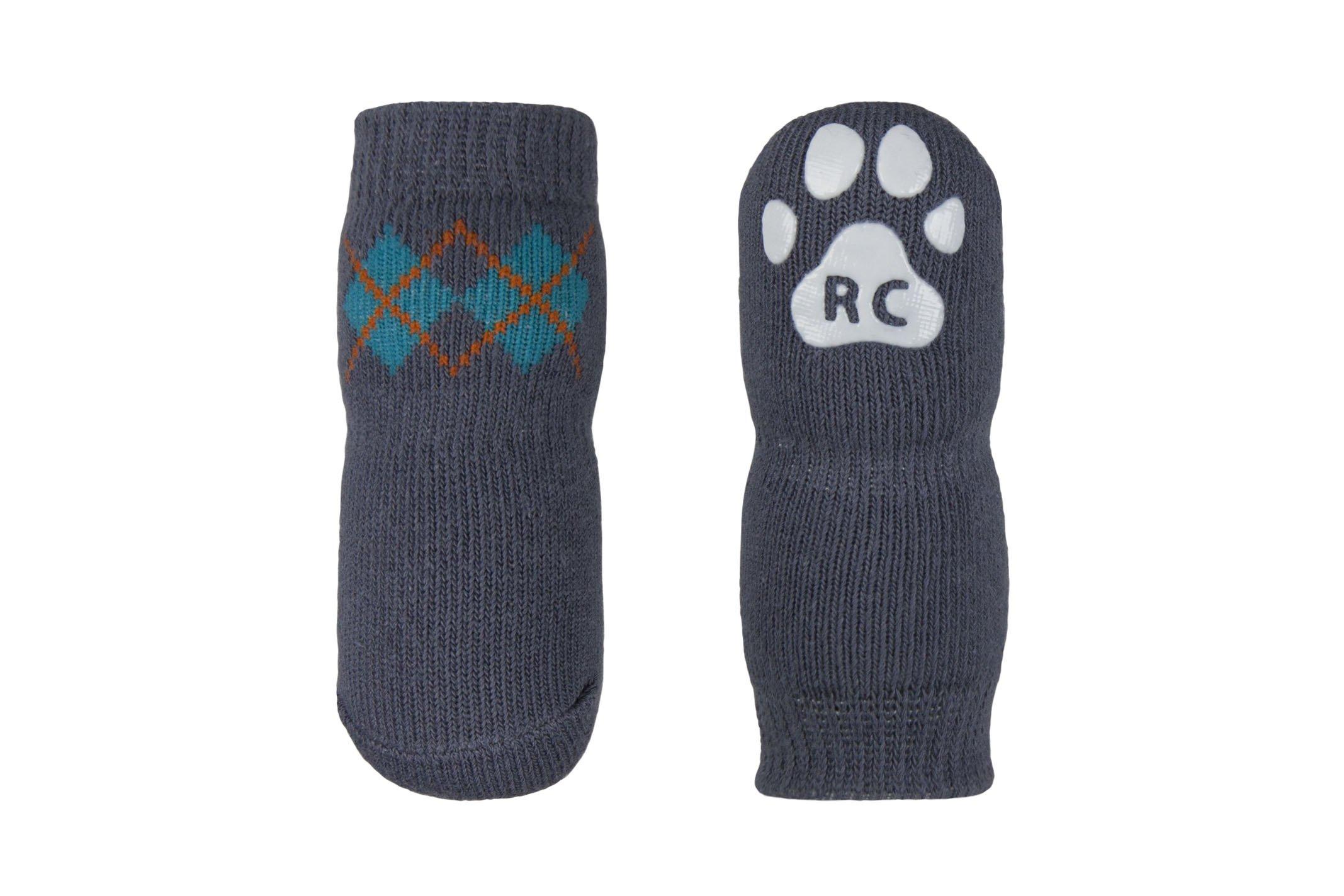 RC Pet Products Pawks Dog Socks Paw Protection, Small, Slate Argyle