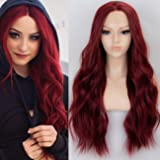 K'ryssma 22 inches Wine Red Lace Front Wigs Burgundy Synthetic Wig for Women Glueless Long Wavy Hair Wigs Heat Resistant Middle Parting