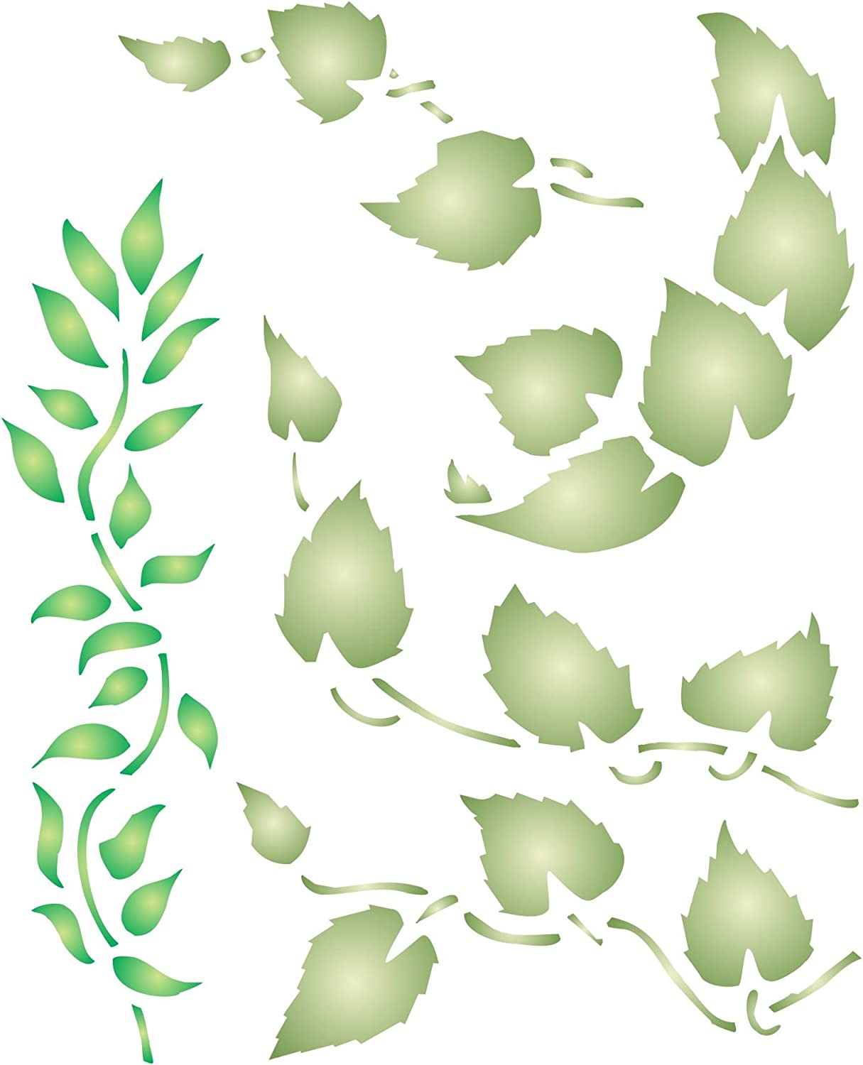 Leaf Stencil, 3.25 x 4 inch (S) - Leaves Vines Stencils for Painting Cards