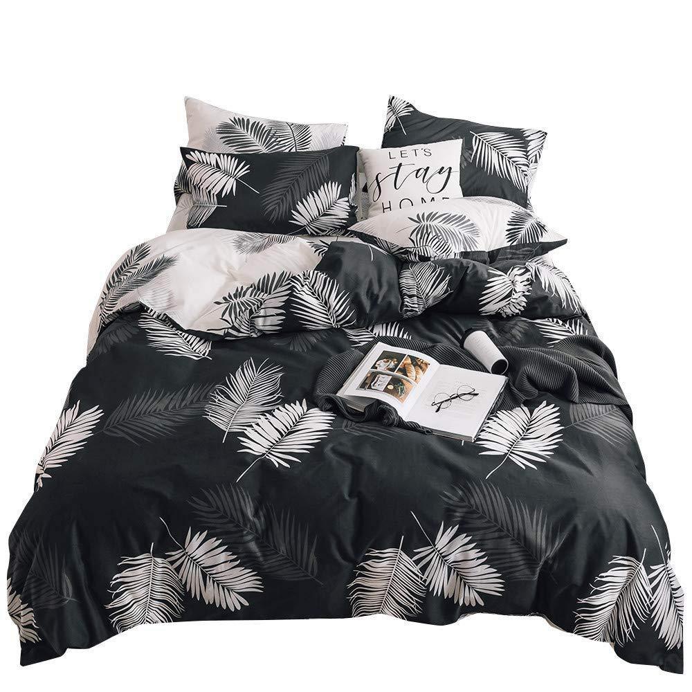 Duvet Cover Black Twin Cotton Tropical for Kids Adults,Modern Natural Botanical Leaf Boho Reversible Teen Boys Girls Bedding Sets Twin Comforter Cover Zipper Closure,No Comforter