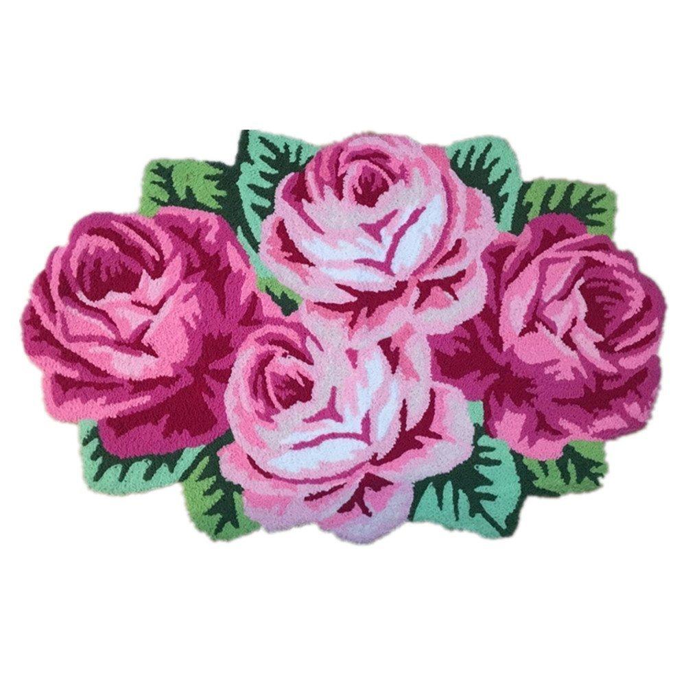 USTIDE Pink Rose Rug,Handmade Area Rugs For Living Room/Bedroom (2FTx3.6FT)