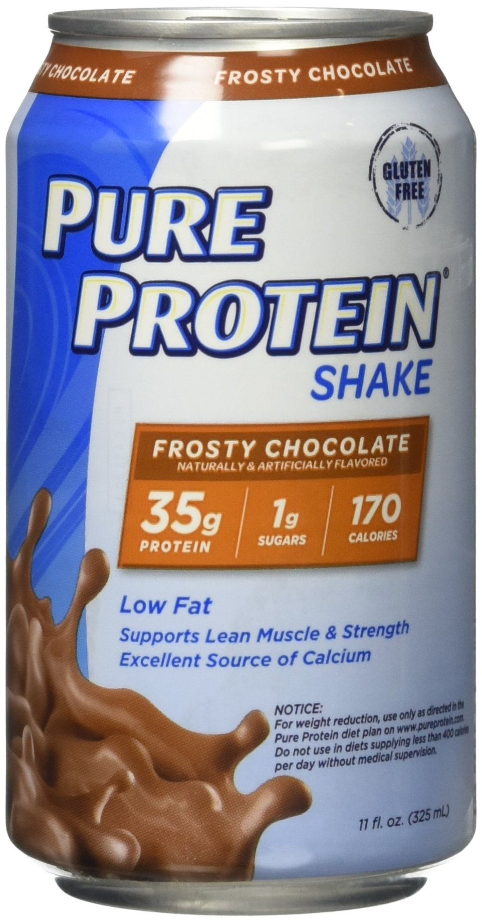 Pure Protein Shake Frosty Chocolate Protein Shakes 35 Grams of Protein per Shake Excellent Source of Calcium 12-11-Ounce Cans