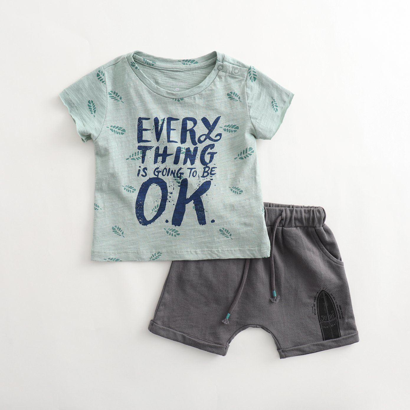 marc janie Summer Boys Round Collar Greenery Cute Pattern Short Sleeve T-Shirts and Shorts Infant Baby Tees Set