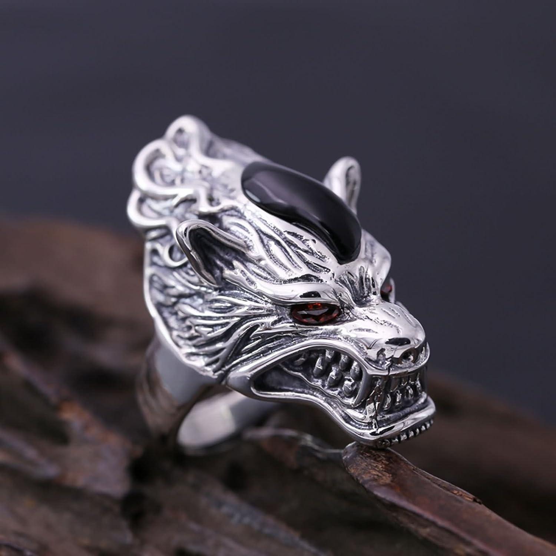 Bishilin Sterling Silver Rings for Men Dragon Friendship Partnership Ring Silver Black Size 10.5