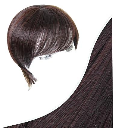 Snifgoij Peluca Mujer Cabello Corto Rostro Fluffy Naturaleza Lifelike Moda Hermoso Corea del Sur Oblique Bangs