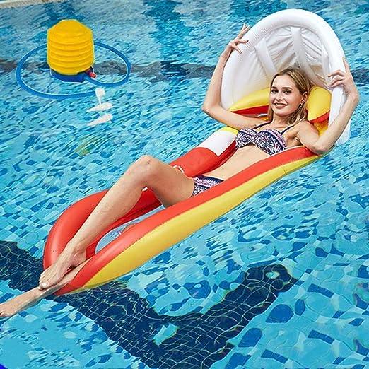 Fila flotante inflable Inflable Flotador piscina Juguete Hinchable para Piscina con sombrilla y respaldo Colchonetas Flotante para Playa Anillo de la Natación flotador inflable de la silla de agua: Amazon.es: Hogar