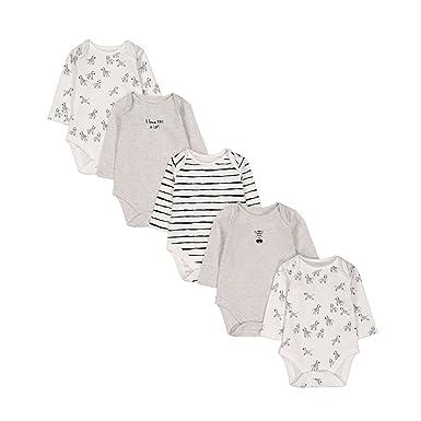 Mothercare Baby Unisex 5 Pack Long Sleeve Bodysuits Zebra  Amazon.co.uk   Clothing 682f150b7