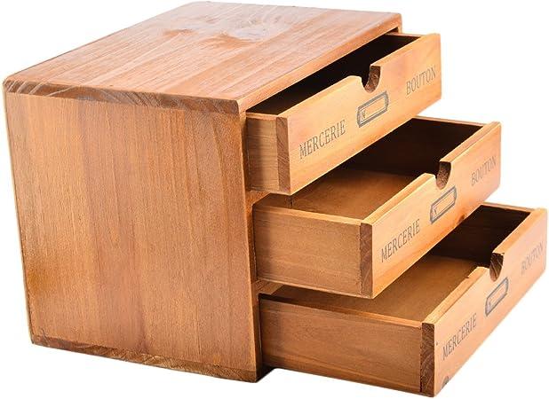 Mini organizador de escritorio, lingxuinfo 3 cajones de madera ...