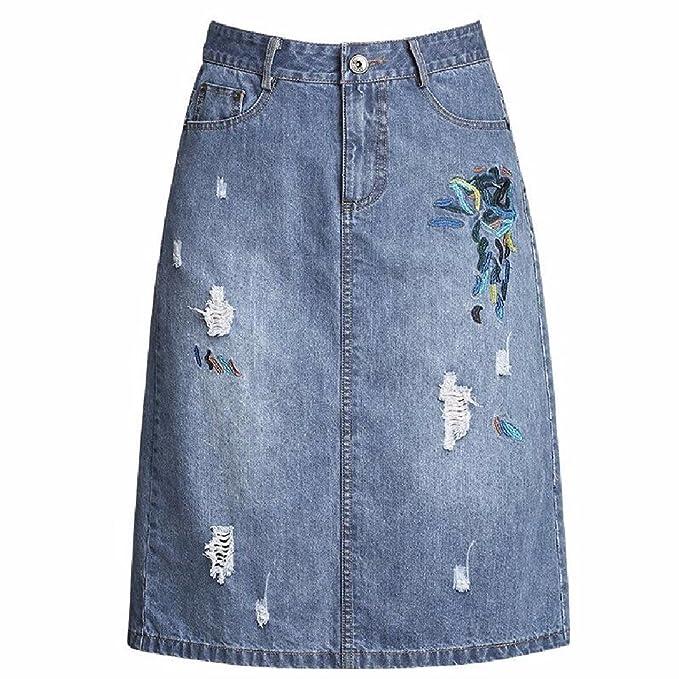 QPSSP Jeans Cintura Alta Cintura Falda Larga bb22419b4e8a
