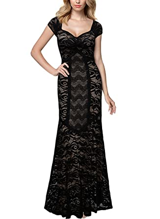 7b9a69baa9 Miusol Vintage Style Maxi Evening Dress Stretch Lace