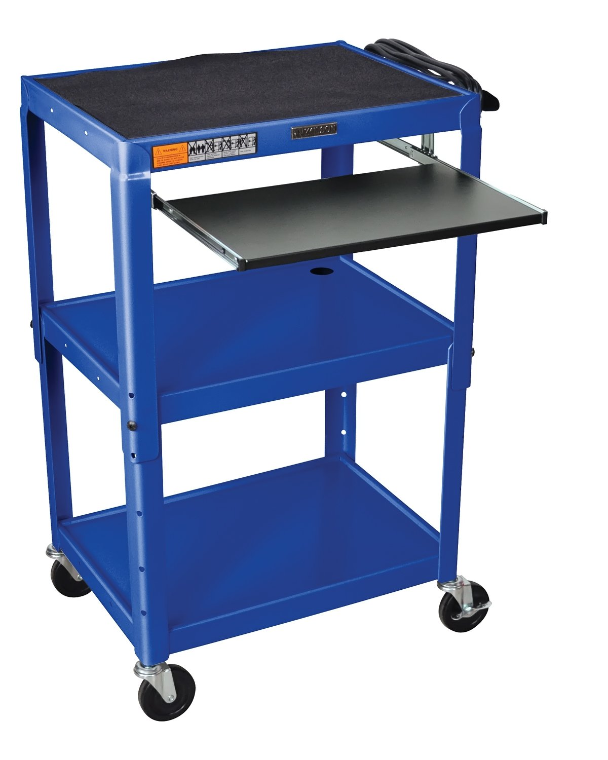 Luxor Rolling Multipurpose Height Adjustable Steel AV Utility Cart With Pullout Keyboard Tray Shelf Black