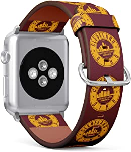 S-Type iWatch Leather Strap Printing Wristbands for Apple Watch 4/3/2/1 Sport Series (38mm) - Cleveland, Ohio Badge