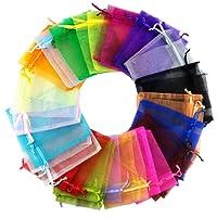 Homieco 100 Pezzi Coulisse Sacchetti regalo in Organza Multicolori Nozze Favore Borse Gioielli per Matrimonio Compleanno Battesimo Comunione Nascita Festa Natale