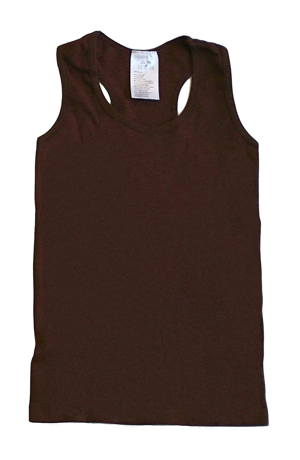 Pout N' Sprout Thick Quality Ribbed Tank Tops 4-8yrs Brown KBrnTanks2762
