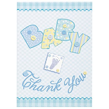 Amazon Blue Stitching Boy Baby Shower Thank You Note Cards 8ct